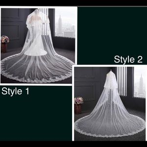 White ivory 4M/13ft Cathedral veil